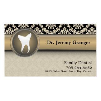 Dentist Business Card - Tooth Vintage Beige & Gold