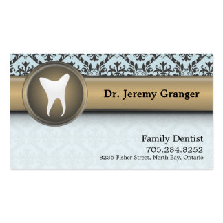 Dentist Business Card - Tooth Vintage Blue & Gold