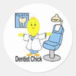 Dentist Chick Classic Round Sticker