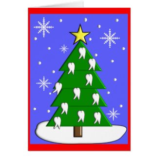 Dentist Christmas Tree CardsWith Tooth Decorations Greeting Cards