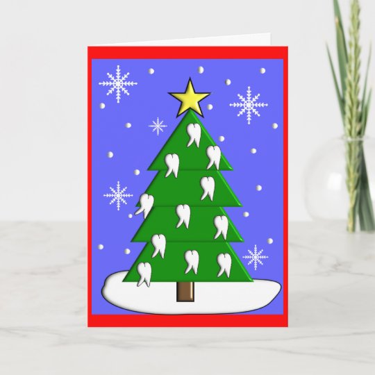 Dentist Christmas Tree CardsWith Tooth Decorations Holiday Card ...