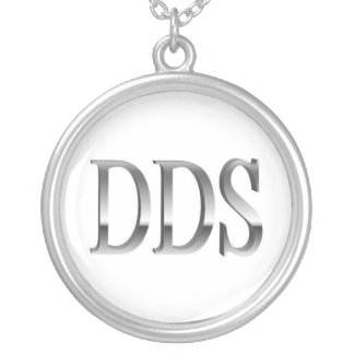 Dentist DDS White Silver Necklace