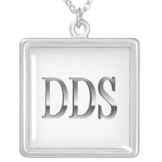 Dentist DDS White Silver Square Necklace