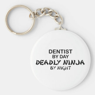 Dentist Deadly Ninja by Night Basic Round Button Keychain