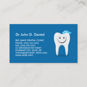 Dental hygiene business cards zazzle dentist dental business card with happy tooth colourmoves