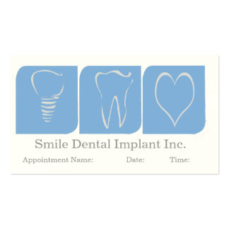 Dentist Dental Implant Blue White Business Card