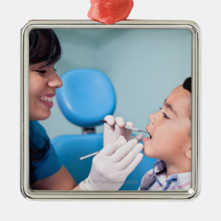 DENTIST, DOCTOR AND PATIENCE RELATIONSHIP METAL ORNAMENT
