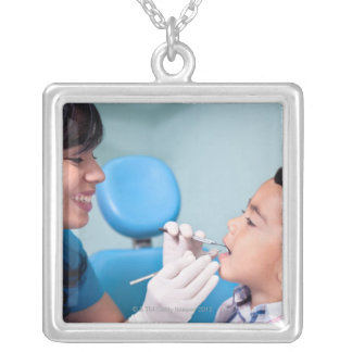 DENTIST, DOCTOR AND PATIENCE RELATIONSHIP SQUARE PENDANT NECKLACE
