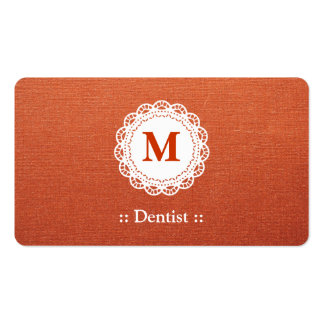 Dentist Elegant Lace Monogram Double-Sided Standard Business Cards (Pack Of 100)