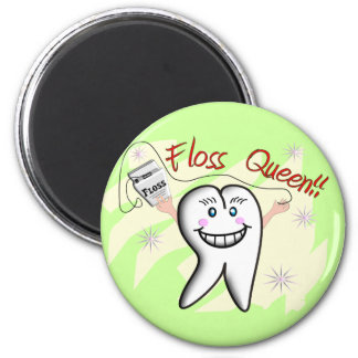 """Dentist """"Floss Queen"""" T-Shirts and Gifts Refrigerator Magnet"""