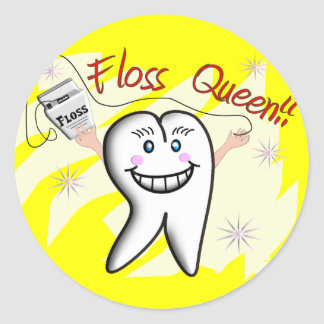 """Dentist """"Floss Queen"""" T-Shirts and Gifts Sticker"""