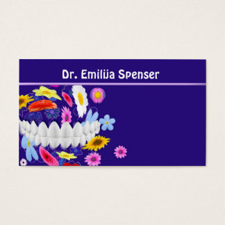 Dentist Flower Spin Blue Business Card