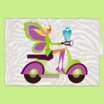 Dentist Gift Cute Tooth Fairy Scooter Girl Card