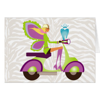 Dentist Gift Cute Tooth Fairy Scooter Girl Greeting Card