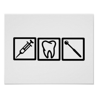Dentist icons symbols posters