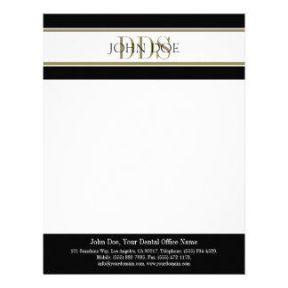 Dentist Letterhead Gold DDS Matching Business Card
