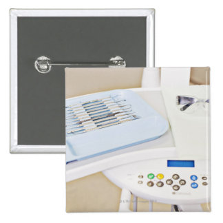 Dentist machinery, safety goggles and implements 2 inch square button