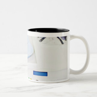 Dentist machinery, safety goggles and implements Two-Tone coffee mug