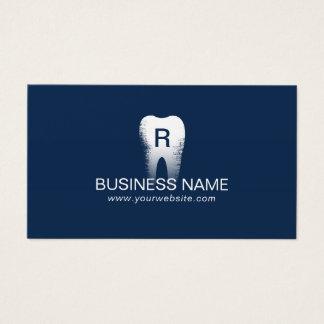 Dentist Monogram Tooth Initial Navy Blue Dental Business Card