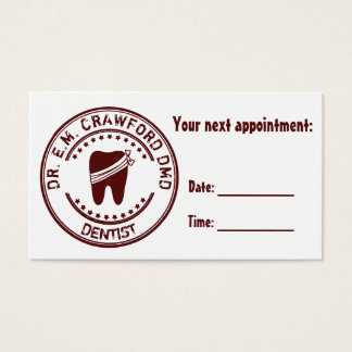 Dentist Next Appointment With Tooth And Your Name Business Card
