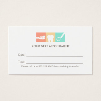 Dentist Office Appointment Reminder Business Card