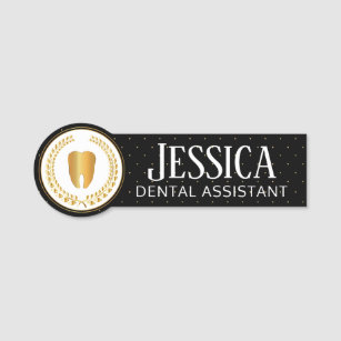 Dentist Office - Black, White and Gold Name Tag