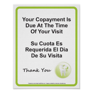 Dentist Office Copayment Wall Sign English Spanish