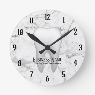 dental art wall d cor zazzle Ear Anatomy Diagram dentist office dental white tooth modern marble round clock