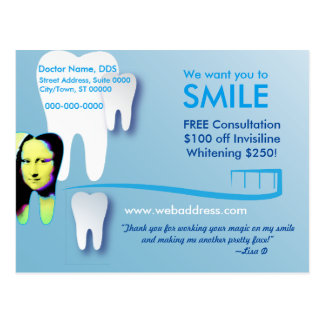 Dentist Postcard: We want you to SMILE Postcard
