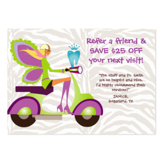 Dentist Referral Card Scooter Cute Fairy Large Business Card
