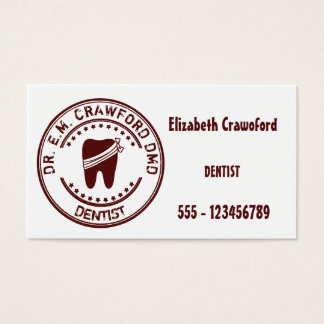 Dentist Rubber Stamp With Tooth And Your Name Business Card