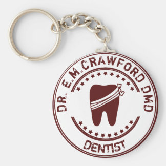 Dentist Rubber Stamp With Tooth And Your Name Keychain