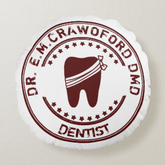 Dentist Rubber Stamp With Tooth And Your Name Round Pillow