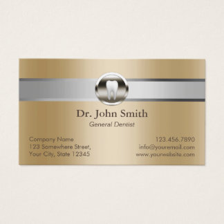 Dentist Silver Stripe Gold Dental Appointment Business Card