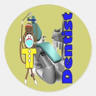 Dentist Sock Monkey--Adorable Classic Round Sticker