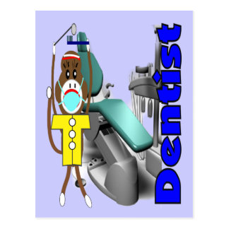 Dentist Sock Monkey--Adorable Postcard