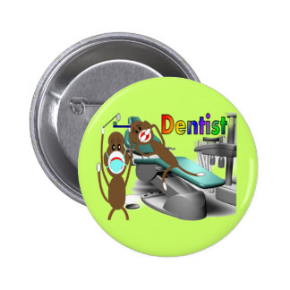 Dentist Sock Monkey Gifts--Unique Pinback Button