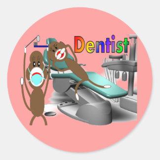 Dentist Sock Monkey Gifts--Unique Classic Round Sticker