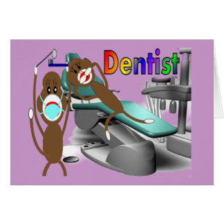 Dentist Sock Monkey Gifts--Unique Greeting Card
