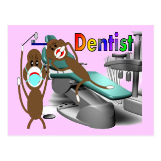 Dentist Sock Monkey Gifts--Unique Postcard