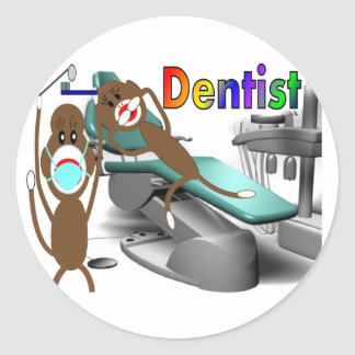 Dentist Sock Monkey Gifts--Unique Stickers