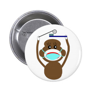 Dentist Sock Monkey Shirts and Gifts--Adorable 2 Inch Round Button