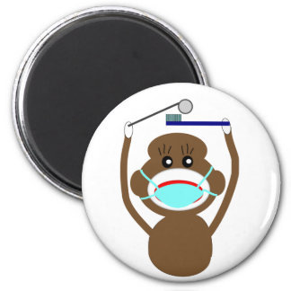 Dentist Sock Monkey Shirts and Gifts--Adorable 2 Inch Round Magnet