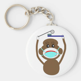 Dentist Sock Monkey Shirts and Gifts--Adorable Basic Round Button Keychain