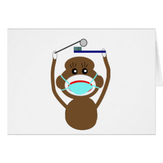 Dentist Sock Monkey Shirts and Gifts--Adorable Greeting Card