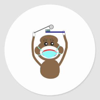 Dentist Sock Monkey Shirts and Gifts--Adorable Classic Round Sticker