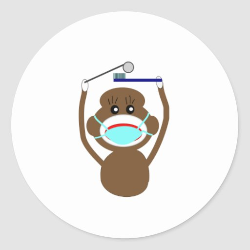Dentist Sock Monkey Shirts and Gifts--Adorable Sticker