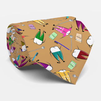 Dentist Teeth People Art Gold Neck Tie