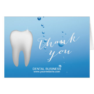 Dentist Tooth & Blue Water Dental Care Thank You Card