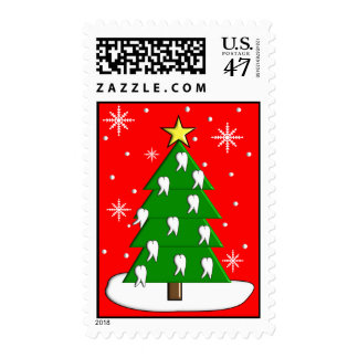 Dentist Tooth Christmas Tree Postage Stamps